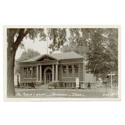 画像1: USAヴィンテージアイオワ州ジェファーソン公共図書館写真ポストカード|アンティーク紙もの