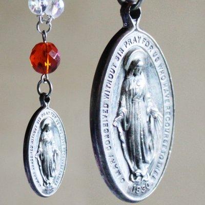 画像1: ヴィンテージ不思議のメダイ無原罪の聖母マリアメダイのストラップ橙|キーホルダーアンティークカトリック聖品