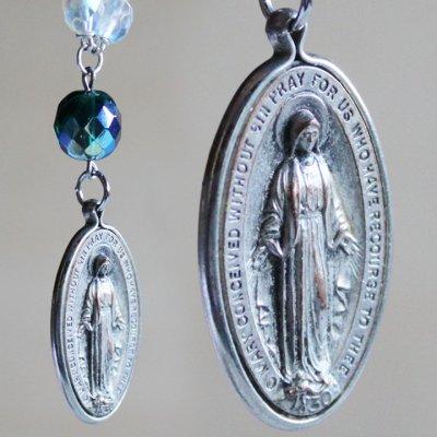 画像1: ヴィンテージ不思議のメダイ無原罪の聖母マリアメダイのストラップ緑|キーホルダーアンティークカトリック聖品