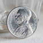 画像2: ヴィンテージ1949年アルミ製ヴァチカン市国ピウス12世(ピオ12世)バチカン5リラ|コインメダル硬貨 (2)