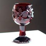 画像2: アメリカヴィンテージAVONケープゴットミニワイングラスゴブレットルビーレッド|アンティークカットグラス (2)