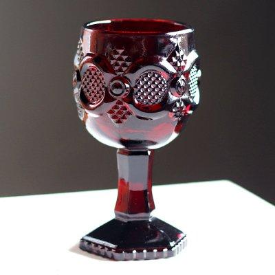 画像1: アメリカヴィンテージAVONケープゴットミニワイングラスゴブレットルビーレッド|アンティークカットグラス
