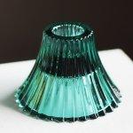 画像1: アメリカヴィンテージクリアガラスキャンドルスタンドホルダー緑|アンティークグラス (1)