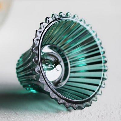 画像2: アメリカヴィンテージクリアガラスキャンドルスタンドホルダー緑|アンティークグラス