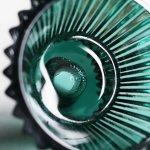 画像5: アメリカヴィンテージクリアガラスキャンドルスタンドホルダー緑|アンティークグラス (5)