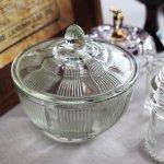 画像2: ヴィンテージガラスの小物入れキャンディポットアクセサリーケース|S.G.F.戦前アンティーク硝子容器昭和レトロ (2)