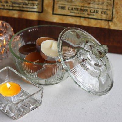 画像1: ヴィンテージガラスの小物入れキャンディポットアクセサリーケース S.G.F.戦前アンティーク硝子容器昭和レトロ