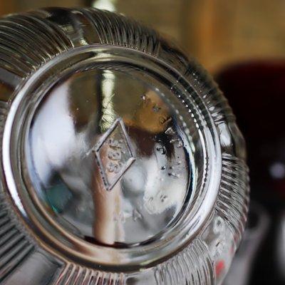 画像3: ヴィンテージガラスの小物入れキャンディポットアクセサリーケース|S.G.F.戦前アンティーク硝子容器昭和レトロ