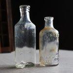 画像1: アメリカヴィンテージガラスボトル薬瓶2本組|メディスンボトルアンティーク雑貨グラス (1)