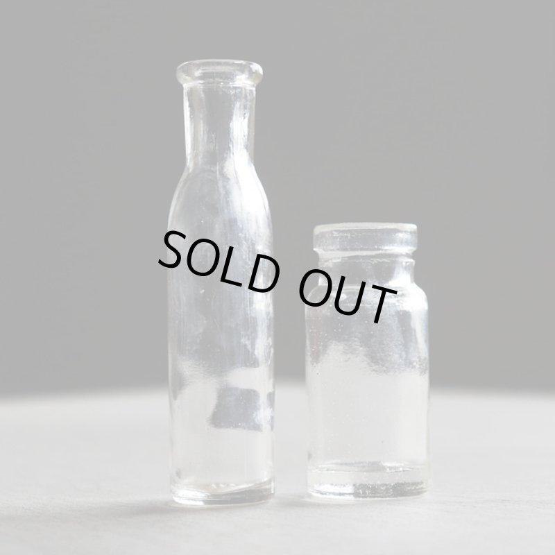 画像1: アメリカヴィンテージガラスボトル大小2本組|アンティーク雑貨グラス薬瓶メディスンボトル (1)