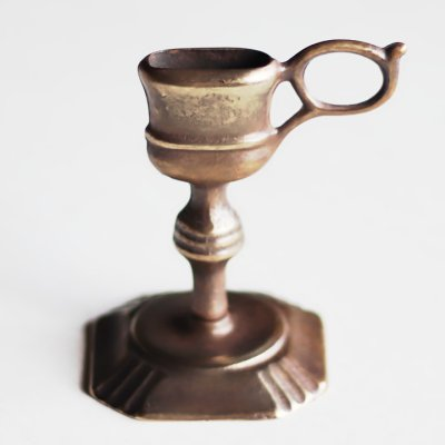 画像1: ITALYイタリアヴィンテージブラスキャンドルスナッファー用スタンド真鍮製蝋燭火消し|アンティーク