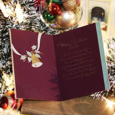 画像2: USAヴィンテージ1950年代紙ものクリスマスカード ポインセチア・ジングルベルアンティークポストカード