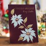 画像5: USAヴィンテージ1950年代紙ものクリスマスカード ポインセチア・ジングルベルアンティークポストカード (5)