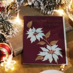 画像6: USAヴィンテージ1950年代紙ものクリスマスカード ポインセチア・ジングルベルアンティークポストカード (6)