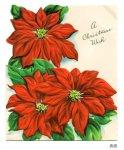 画像7: USAヴィンテージ1950年代紙ものクリスマスカード|ポインセチア・christmas wishアンティークポストカード (7)