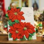 画像4: USAヴィンテージ1950年代紙ものクリスマスカード|ポインセチア・christmas wishアンティークポストカード (4)