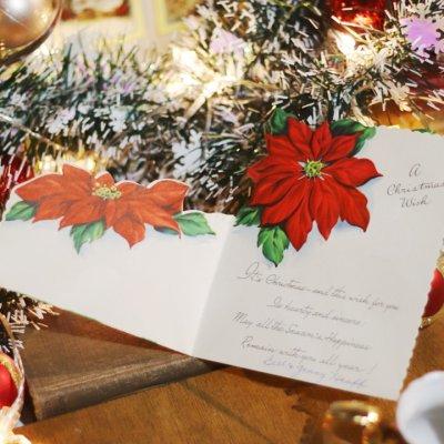 画像2: USAヴィンテージ1950年代紙ものクリスマスカード|ポインセチア・christmas wishアンティークポストカード
