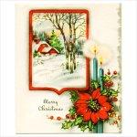 画像1: USAヴィンテージ1950年代紙ものクリスマスカード|冬景色・ポインセチア・キャンドルアンティークカード (1)