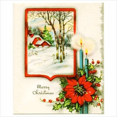 画像1: USAヴィンテージ1950年代紙ものクリスマスカード|冬景色・ポインセチア・キャンドルアンティークカード