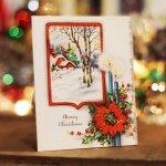 画像4: USAヴィンテージ1950年代紙ものクリスマスカード|冬景色・ポインセチア・キャンドルアンティークカード (4)