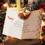 画像6: USAヴィンテージ1950年代紙ものクリスマスカード アーガイル・ポインセチア・キャンドルアンティークカード (6)