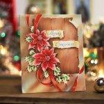 画像4: USAヴィンテージ1950年代紙ものクリスマスカード ポインセチア・リボン・ヒイラギ・アンティークカード (4)