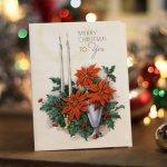 画像7: USAヴィンテージ1950年代紙ものクリスマスカード|ポインセチア・キャンドル・ヒイラギ・アンティークカード (7)