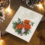 画像8: USAヴィンテージ1950年代紙ものクリスマスカード|ポインセチア・キャンドル・ヒイラギ・アンティークカード (8)