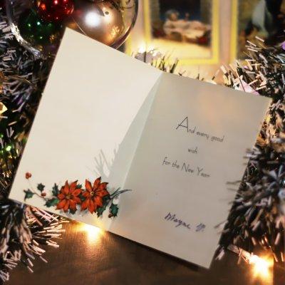 画像2: USAヴィンテージ1950年代紙ものクリスマスカード|ポインセチア・キャンドル・ヒイラギ・アンティークカード
