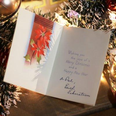 画像2: USAヴィンテージ1950年代紙ものクリスマスカード|ポインセチア・もみの木・窓辺cheerioアンティークカード