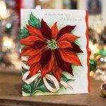 画像8: USAヴィンテージ1950年代紙ものクリスマスカード ポインセチアのグリーティングアンティークカード (8)