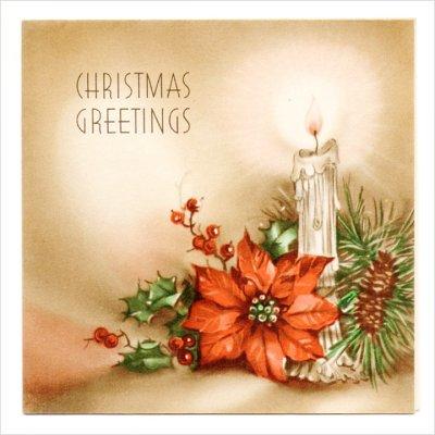 画像1: USAヴィンテージ1940年代紙ものクリスマスカード|ポインセチアとキャンドルのグリーティングアンティークカード