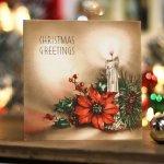 画像7: USAヴィンテージ1940年代紙ものクリスマスカード|ポインセチアとキャンドルのグリーティングアンティークカード (7)