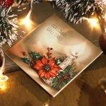 画像8: USAヴィンテージ1940年代紙ものクリスマスカード|ポインセチアとキャンドルのグリーティングアンティークカード (8)