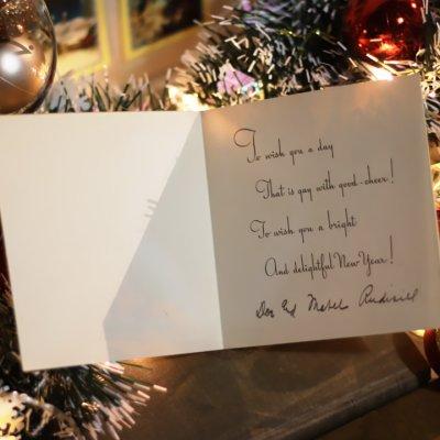 画像2: USAヴィンテージ1940年代紙ものクリスマスカード|ポインセチアとキャンドルのグリーティングアンティークカード