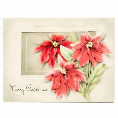 画像1: USAヴィンテージ1950年代紙ものクリスマスカード|淡い3つのポインセチア・アンティークカード