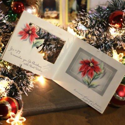 画像2: USAヴィンテージ1950年代紙ものクリスマスカード|淡い3つのポインセチア・アンティークカード
