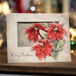 画像7: USAヴィンテージ1950年代紙ものクリスマスカード|淡い3つのポインセチア・アンティークカード (7)