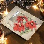 画像8: USAヴィンテージ1950年代紙ものクリスマスカード|淡い3つのポインセチア・アンティークカード (8)
