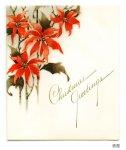 画像4: USAヴィンテージ1940年代紙ものクリスマスカード|2色刷りポインセチアと雪景色・アンティークカード (4)