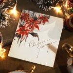画像8: USAヴィンテージ1940年代紙ものクリスマスカード|2色刷りポインセチアと雪景色・アンティークカード (8)