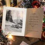 画像9: USAヴィンテージ1940年代紙ものクリスマスカード|2色刷りポインセチアと雪景色・アンティークカード (9)