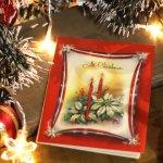 画像8: USAヴィンテージ1940年代紙ものクリスマスカード|アメリカ星条旗・ポインセチアとキャンドルアンティークカード (8)