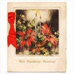 画像1: USAアンティーククリスマスカード1910年代紙もの|ポインセチアとキャンドルリーティングカード (1)