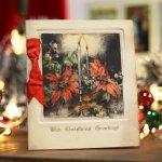 画像7: USAアンティーククリスマスカード1910年代紙もの|ポインセチアとキャンドルリーティングカード (7)