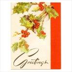 画像1: USAヴィンテージ1940年代紙ものクリスマスカード|柊・ひいらぎアンティークグリーティングカード (1)