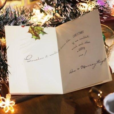 画像2: USAヴィンテージ1940年代紙ものクリスマスカード|柊・ひいらぎアンティークグリーティングカード
