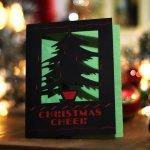 画像9: USAヴィンテージ1940年代紙ものクリスマスカード もみの木のクリスマスツリーアンティークカード (9)