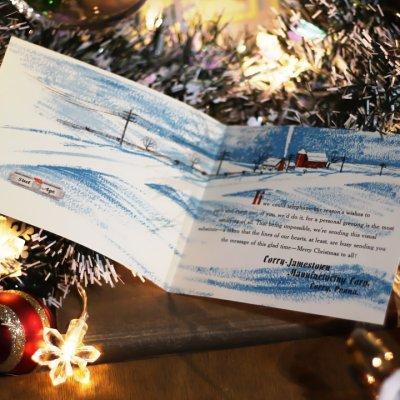 画像2: USAヴィンテージ1960年代紙ものクリスマスカード|Corry Jamestown Mtg.電話と冬景色アンティークカード