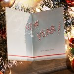 画像11: USAヴィンテージ1940年代紙ものクリスマスカード|キャンディケインのアンティークカード (11)